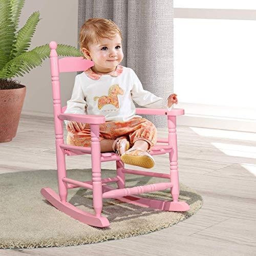 Costzon Kids Rocking Chair, Wooden Classic Porch Rocker, Double Slat Back...
