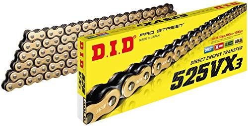 D.I.D 525VX3G120FB Oro y Negro 525VX3 X Cadena 120 Enlaces