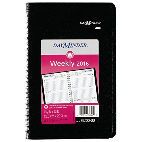 DayMinder Weekly Planner / Appointment Book 2016, 4.87 x 8 Inches, Black (G20000)