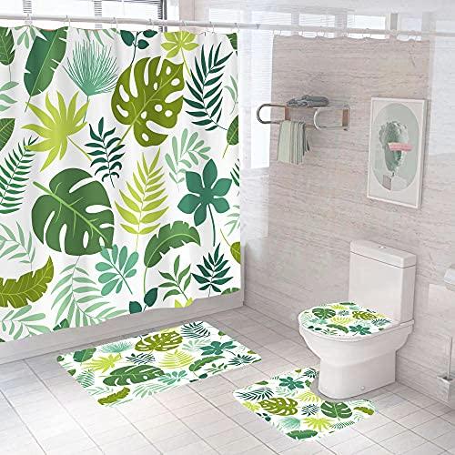 MOUPSDT 4-teiliges Duschvorhang-Set Grüngelbe Pflanzenblätter mit rutschfesten Teppichen, Toilettendeckel & Badematte, mit 12 Haken,wasserdichter Stoff-Duschvorhang 180x200 cm