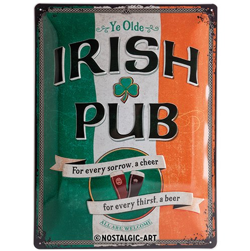 Nostalgic-Art 23226, Open Bar Irish Pub, Blechschild 30x40 cm, Metall, bunt, 30 x 40 x 0,2 cm