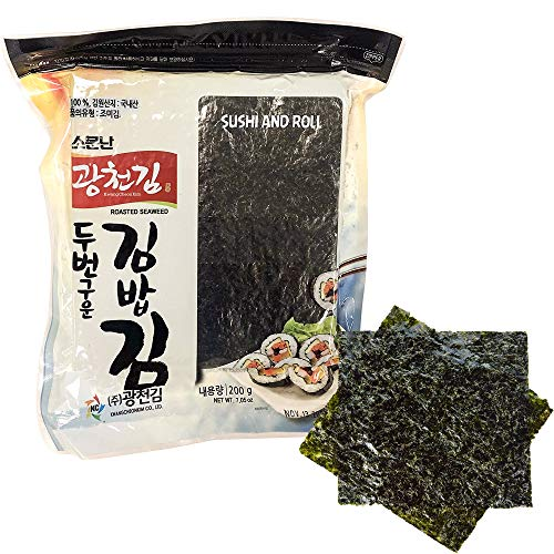 Kwangcheonkim Sushi Nori Seaweed Sheets – 100 Full Size Roasted Crispy Rolls Wraps Yaki Resealable Bag Natural Laver 200 Gram 7.05 Ounce 김 のり 海苔 紫菜