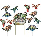誕生日ケーキトッパー セット 可愛い恐竜 ハーフバースデー 製菓 弁当 飾り付け 紙製 SUNBEAUTY (ケーキトッパーセット)