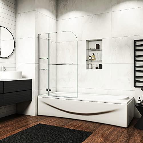 Acezanble Badewannenaufsatz Duschabtrennung 90cm Duschwand 6mm Nano Dusche 2-tlg für Badewanne H140cm mit Handtuchhalter,Eckregalen