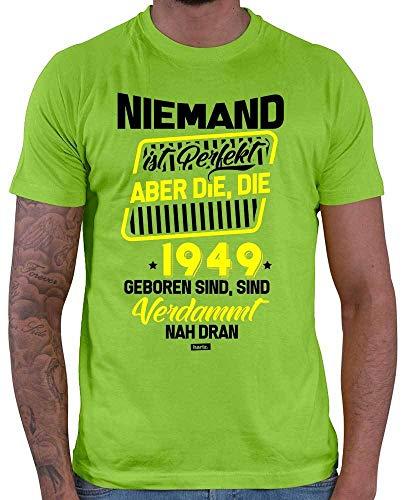 Hariz Camiseta para hombre, Niemand Ist Perfekt Aber Die 1949 Geboren Sind Verdammt Nah Dran 70 cumpleaños, 70 frases + tarjeta de regalo