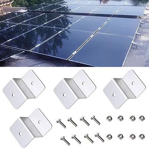Yzki Lot de 4 supports en Z pour panneau solaire pour camping-car, bateau, voiture, camion, caravane, toit plat, en alliage d'aluminium (argenté)