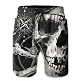 Pirate Skull and Compass Men Summer Casual Swim Trunks Shorts...