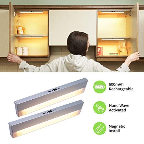Bason Schrankbeleuchtung, Schranklicht, USB Ladekabel Touch Lampe, Warmes weißes Sensor Licht, LED Nachtlicht für Kleiderschränke, Bücherschrank, Schrankleuchte, Küchenbeleuchtung, Wandschrank,2er Set
