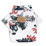 CheeseandU Pet Hawaiian Shirt, NewStyle Summer Beach Vest Short Sleeve Pet Clothes Dog Top Floral Pineapple T-Shirt Hawaiian Tops Dog Jacket Outfit Beach Apparel for Small Dogs Breeds Cats, White