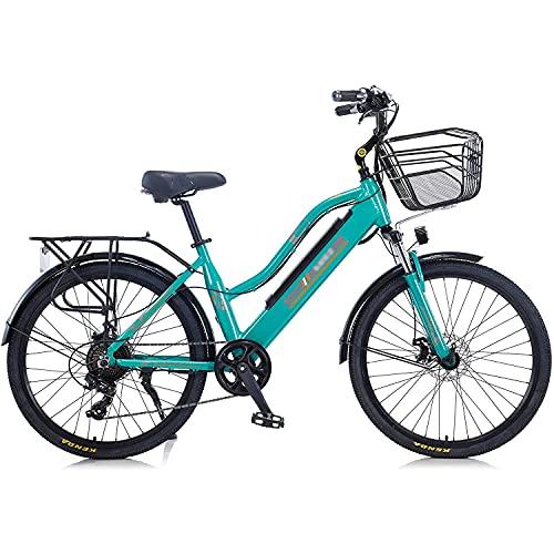 """Bedroom 2021 Upgrade Elektrische Fahrräder Für Frauen Erwachsene, Alles Gelände 26\""""36v 350w E-Bike-fahrräder Abnehmbare Lithium-ionen-Batterie-Berg Ebike Für Den Außenradfahren(Color:Grün)"""