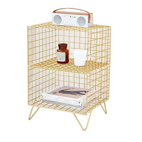 JCNFA planken Scandinavische plank kleine ijzeren frame meerlagig rack vloer standaard nachtkastje boekenkast bergrack, 3 stijlen