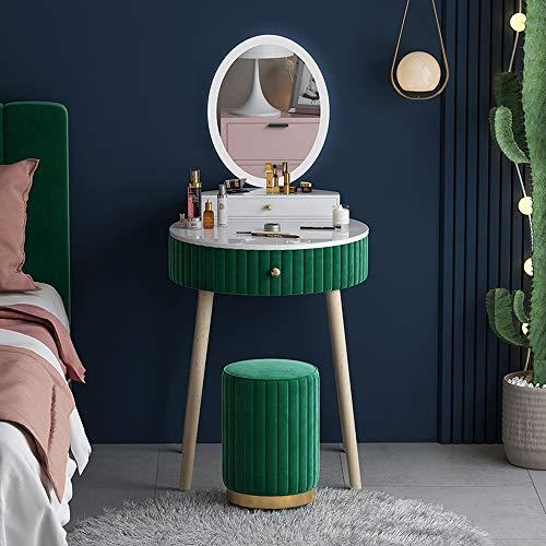 WEIKEXIN LED licht ronde spiegel dressoir tafel, cosmetica en sieraden opbergkast met laden, Scandinavische Postmodern klein appartement dressoir tafel met make-up kruk
