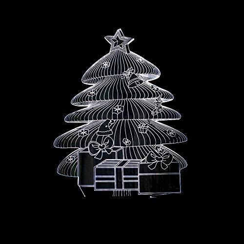 BFMBCHDJ Neue Weihnachtsbaum 3D Kleine Tischlampe Bunte Touch Fernbedienung 3D Nachtlicht Geschenk Kleine Tischlampe A2 Weiße Rissbasis