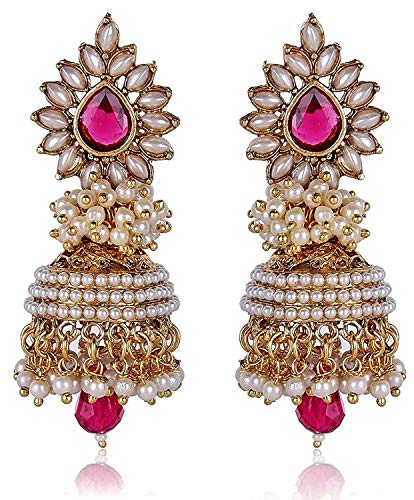 VintFlea Bollywood Inspired Traditional Pearl Stylish Fancy Party Wear Jhumka/Jhumki Earrings For Girls and Women - Pink