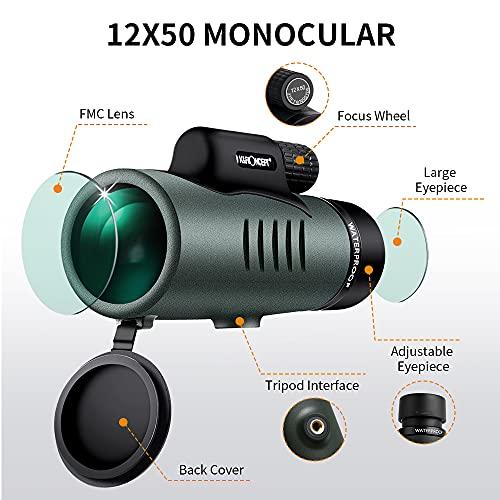 K&F Concept 12X50 Monocular Telescope with Smartphone Adapter, IP68 Waterproof Anti-fog Bak-4 Prism Monocular Scope for Bird Watching Hunting Camping Travelling Wildlife Scenery