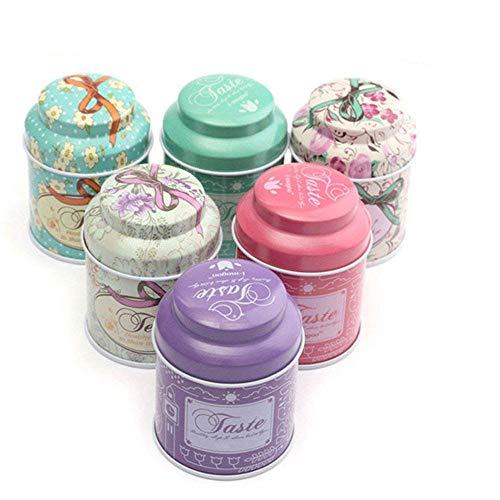 Fellibay - Juego de 6 Cajas de Almacenamiento de Metal para té, Dulces, azúcar (al Azar, 6 Piezas de 1 o 2 Estilos)