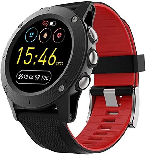 hwbq Reloj Inteligente 1.3 Pulgadas Pantalla Táctil Completa Hombres Al Aire Libre Impermeable Posicionamiento Bluetooth Multi-Función Deportes Reloj Inteligente Rojo-Rojo
