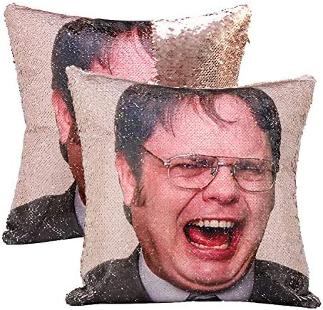 cygnus The Office Dwight Schrute Funny Gag Gifts Magic Reversible Sequin Pillow Cover Home Decorative product image