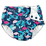 i Play Girls Reusable Absorbent Baby Swim Diapers - Swimming Suit Bottom | No Other Diaper Necessary Navy and Pink Flamingos 24 Months