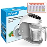 Infanso Baby Food Maker Food Processor for Infants and Toddlers 7 in 1 Organic Food Making Machine with Steam Cooker, Blender, Chopper, Defroster, Reheater, Disinfector, Auto Cleaning 10 Food Pouches