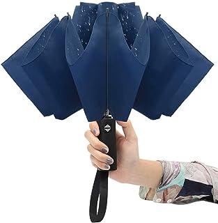 Paraguas de viaje plegable irrompible al revés, con 10 varillas de acero, apertura y cierre automático