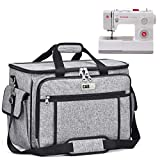 Sewing Machine Cover CAB55 Sewing Machine Carrying Bag with Removable Padding Pad, Tote Bag for Sewing Machine Case and Extra Sewing Accessories, Grey