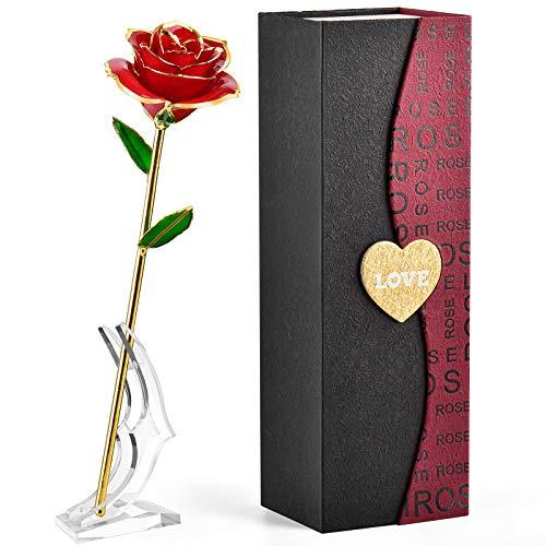 FORGIFTING Rosa Eterna Roja, Regalos Originales para Muje, Mama Aniversario Regalo, Ideas Cumpleaños Regalo Novia, Regalos Navidad San Valentin Sant Jordi, Día de la Madre Regalo - Flor de Oro 24K