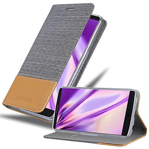 Cadorabo Hülle für LG V10 - Hülle in HELL GRAU BRAUN – Handyhülle mit Standfunktion & Kartenfach im Stoff Design - Case Cover Schutzhülle Etui Tasche Book