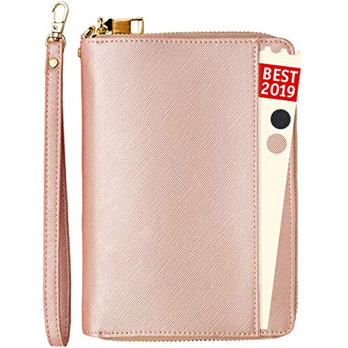 Travel Document Organizer - RFID Passport Wallet Case Family Travel Wallet Holder Id Wristlet (Rose Gold)