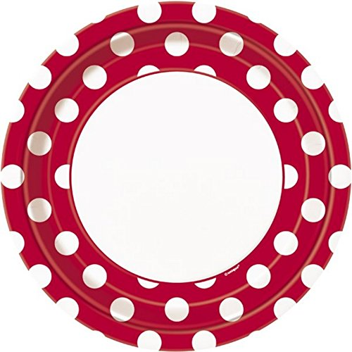 Generique - 8 Assiettes Rouges à Pois Blancs en Carton 22 cm