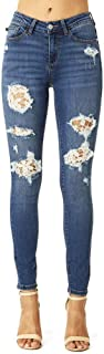 Lacey! Destructed and Crochet Lace Patched Skinny Denim
