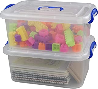 Eagrye Plastic Storage Latch Box, Clear Case with Blue Handle, Set of 2