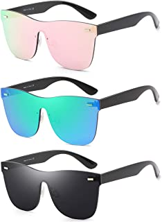 668637033f Rimless Mirrored Lens One Piece Sunglasses UV400 Protection for Women Men