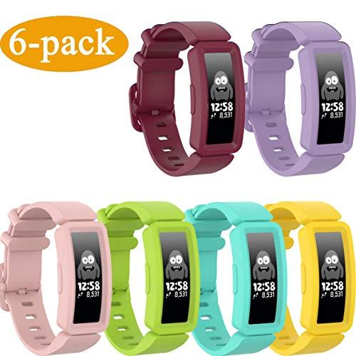 Ruentech Armbänder Kompatibel mit Fitbit Ace 2 Activity Tracker Armband Ersatz-Silikonband Kompatibel mit Fitbit Ace 2 Fitness Tracker Uhrenarmbänder (6-c Colors)