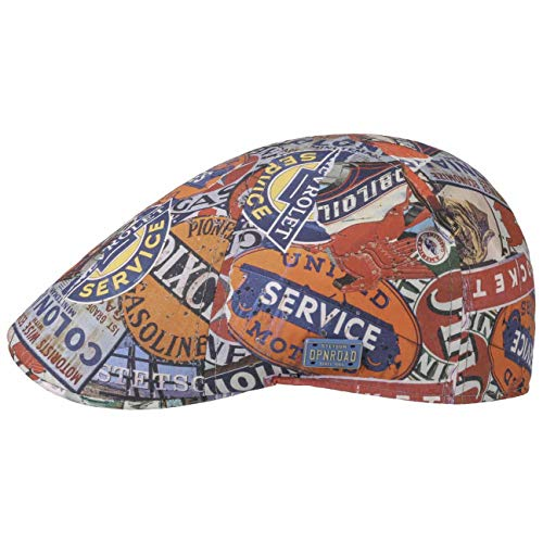 Stetson Texas Classic Cars Flatcap Schirmmütze Schiebermütze Sommercap Baumwollcap Herren - Made in The EU mit Schirm Frühling-Sommer - XL (60-61 cm) bunt