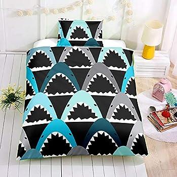 SDIII 3PC Shark Bedding Sets Ocean Themed Full/Queen Size Duvet Cover Sets for Kids,Boys and Teens  Full/Queen Shark