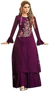 Purple Indian Muslim Evening Cocktail Designer Georgette Kurti style Long Maxi dress Women Party wear 8041