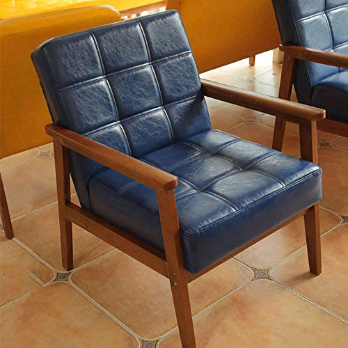 Mid Century Retro Leather Accent Chair, Wood Armchair Patio Chaise Lounger Upholstered Reading Chair for Indoor Outdoor Coffee Shop Dining Room-A