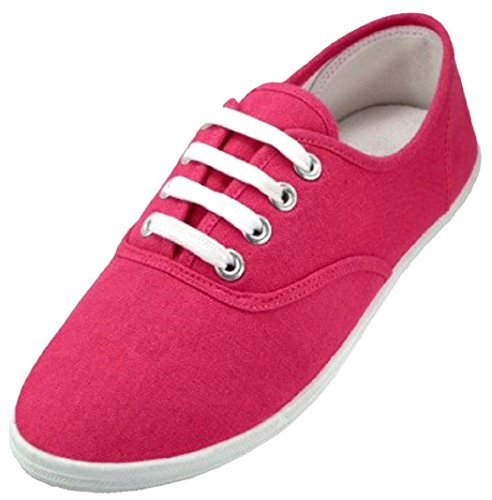 Shoes 18 Womens Canvas Shoes Lace up Sneakers 18 Colors Available (11, 324 Neon Fushia)