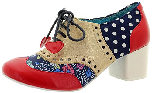 Poetic Licence by Irregular Choice Clara Bow, Scarpe Stringate Brouge Donna, Rosso Rosso Rosso Oro, 39 EU