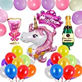 SVZIOOG Large pink unicorn diamond crown wine bottle wine glass party decoration aluminum foil balloon 2.8 g 3.2 g 12 inch macaron pearl balloon
