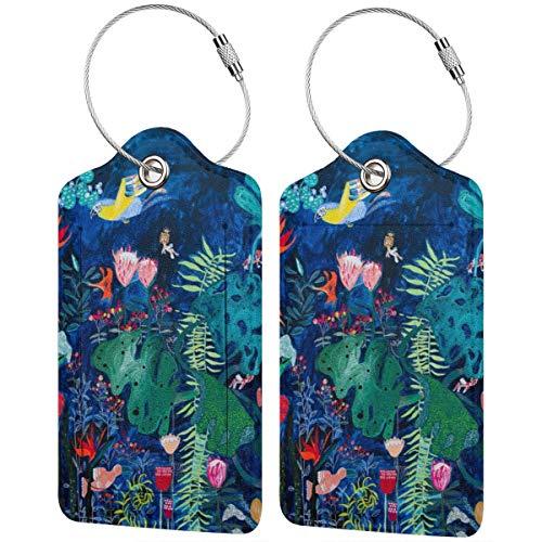 Mural de jungla tropical brillante con pájaros y gatos pequeños, etiquetas de...