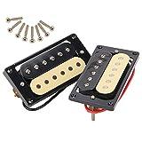 Yibuy 1 Set of 2 ブラック+クリーム ハムバッカー ダブルコイルエレキギター ピックアップ (B)