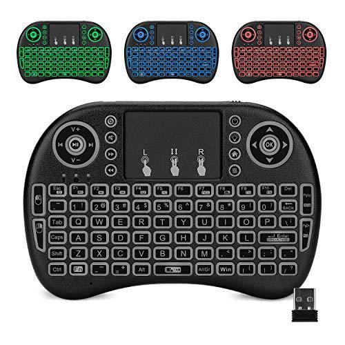 reiie Mini Teclado Inalambrico Iluminado, con TouchPad, USB 2.4GHz para PC, Android TV Box, Negro