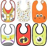 Disney Pixar Baby Boys 6 Pack Bibs Toy Story Incredibles Nemo Monsters Infant