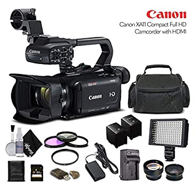 Canon XA11 Compact Full HD Camcorder 2218C002 with 64GB Memory Card, Extra Battery and Charger, UV Filter, LED Light, Case, Telephoto Lens, Wide Angle Lens, and More - Advanced Bundle from Canon