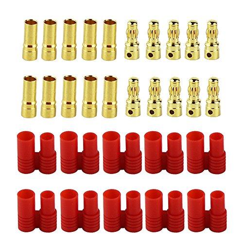 OliYin 10 Set Maschio Femmina HXT 3.5mm Oro Banana Bullet connettore Spine con Set di custodie per Batteria Lipo / ESC / Multicopter