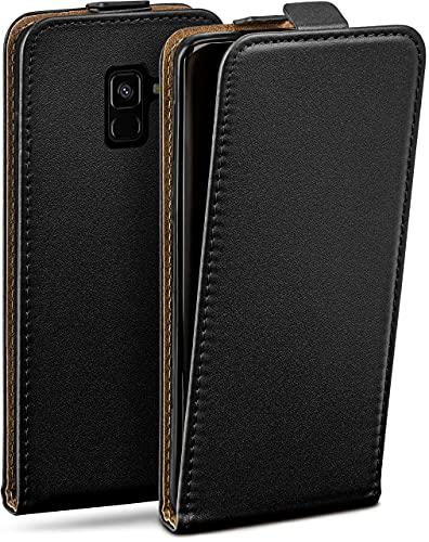moex Flip Hülle für Samsung Galaxy A8 (2018) Hülle klappbar, 360 Grad R&um Komplett-Schutz, Klapphülle aus Vegan Leder, Handytasche mit vertikaler Klappe, magnetisch - Schwarz
