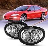 Fog Light Set for 1998-2004 Dodge Intrepid w / Halogen Bulbs H3 12V 35W, NIXON OFFROAD Driving Fog Light Assembly, Fog Lamp Combo Replacement Chrome Black Cover Clear Lens