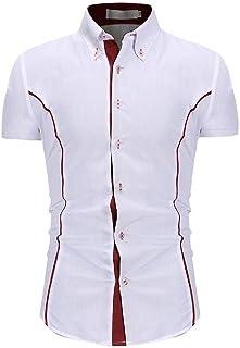 Yeirui Men Baggy Shirts Casual Sleeve Short Slim Button Up Dress Work Shirt
